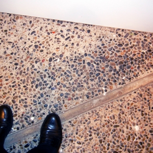 River pebbles, the floor of my exhibit space